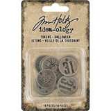 Tim Holtz - Idea-ology - Metal Typed Tokens 18/Pkg - Halloween Words (TH93721)