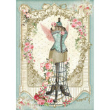 Stamperia - Mannequin W/Flowers - Decoupage Rice Paper 8.25 x 11.5