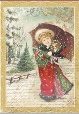 "Stamperia - Little Girl W/Umbrella - Decoupage Rice Paper 8.5""X11.75"" DFSA4143"