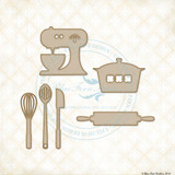 Blue Fern Studios - Chipboard - Cute Kitchen Set (993915)