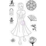 Prima - Julie Nutting - Cling Stamp Set - Traveling Girl - Kyoko (912925 )