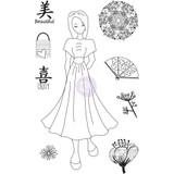 Prima - Julie Nutting - Cling Stamp Set - Traveling Girl - Kyoko (912925 )