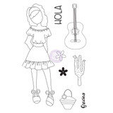 Prima - Julie Nutting - Cling Stamp Set - Traveling Girl - Gabriela (912901)