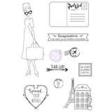 Prima - Julie Nutting - Cling Stamp Set - Traveling Girl (912949 )