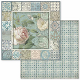 Stamperia - Double-Sided Cardstock 12x12 - Azulejo - Frame With Rose (SBB606)