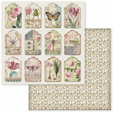 Stamperia - Double-Sided Cardstock 12x12 - Spring Botanic - Tags (SBB591)