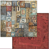 Stamperia - 12x12 Double-Sided Paper -  Mechanical Fantasy - Alphabet (SBB611)
