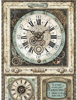 Stamperia - Decoupage Rice Paper A4 - Voyages Fantastiques - Clock (DFSA4367)