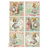 Stamperia - Decoupage Rice Paper A4 - Alice Collection - Alice Cards (DFSA4382)