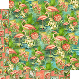 Graphic 45 - 12x12 Double Sided Paper- Lost In Paradise - Flamingo Lagoon (LIP450 1887)