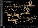 Scrapaholics - Laser Cut Chipboard - Life's Moments Words (S49293)