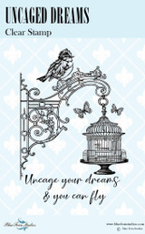 Blue Fern Studios - Bird Waltz Collection Clear Stamp - Uncaged Dreams (691773)