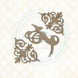 Blue Fern Studios - Chipboard - Bird Waltz - Flourished Swirls (693678)