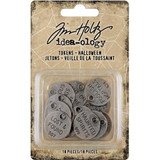 Tim Holtz - Idea-ology - Metal Typed Tokens 18/Pkg - Halloween Words / Sayings 2019 (TH93971)