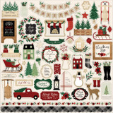 Echo Park - Cardstock Element Sticker Sheet 12x12 - A Cozy Christmas (AC189014)