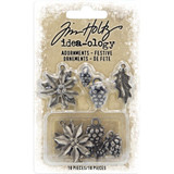 Tim Holtz - Idea-Ology - Antique Nickel Christmas 2019 Adornments 10/Pkg - Festive (TH93990)