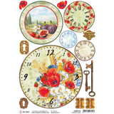 Ciao Bella - Rice Paper Sheet - Under the Tuscan Sun - Tuscan Clocks (CBRP100)