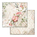 Stamperia - Double-Sided Cardstock 12x12 - House of Roses - Fence with Bird (SBB673)