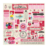 Authentique - Cardstock Element Sticker Sheet 12x12- Love Notes (LVN009)