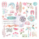 Prima- Chipboard Stickers 27/Pkg- Surfboard - Shapes, Icons w/ Foil Accents (645205)