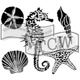 The Crafters Workshop - 6x6 Template Stencil - Mini Sea Creatures (TCW 496s)