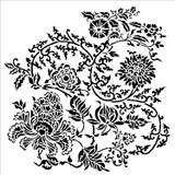 The Crafters Workshop - 12x12 Template Stencil - Asian Floral (TCW865)