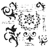 The Crafters Workshop - 6x6 Template Stencil - Vintage Scrolls (TCW 910s)