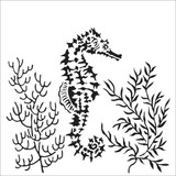 The Crafters Workshop - 6x6 Template Stencil - Seahorse (TCW 918s)