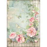 Stamperia - Decoupage Rice Paper A4 - House of Roses Collection - Roses Garden W/Fence (DFSA4450)