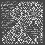 Stamperia - Stencil 7.08x7.08 - Wallpaper Rhombus & Writings (KSTDQ36)