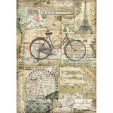 Stamperia - Decoupage Rice Paper 8.25 x 11.5 - Bicycle (DFSA4458)