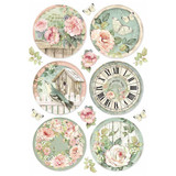 Stamperia - Decoupage Rice Paper 8.25 x 11.5 - House of Roses - Round Clocks (DFSA4447)