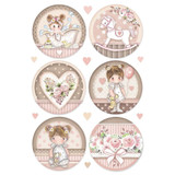 Stamperia - Decopague Rice Paper Sheet A4- Little Girl - Round (DFSA4451)