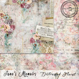 Blue Fern Studios - Jane's Memoirs - 12x12 dbl sided paper - Distressed Floral (700574)