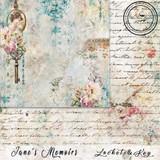 Blue Fern Studios - Jane's Memoirs - 12x12 dbl sided paper - Locket & Key (700871)