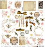 Craft O Clock - 12x12 Mixed Media Ephemera Extras to Cut sheet - Vintage Bisou (CC-DOD-VB-F3)