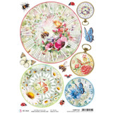 Ciao Bella - Decoupage Rice Paper A4 - Microcosmos - Clocks (CBRP124)