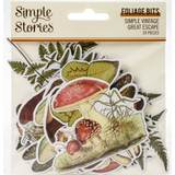 Simple Stories - Great Escape Bits & Pieces Die-Cuts 46/Pkg - Simple Vintage Great Escape - Foliage (VGE13218)