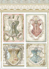 Stamperia - Decoupage Rice Paper A4 11.69x8.26 - Corsets (DFSA4487)