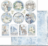 Stamperia - Double-Sided Cardstock 12x12 - Winter Tales -Frames (SBB721)