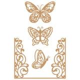 Prima Marketing Laser Cut Chipboard - Butterfly Flight, 4/Pkg (647346)