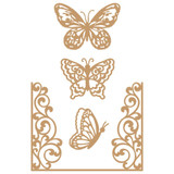 Prima Marketing Laser Cut Chipboard - Butterfly Flight, 4/Pkg (647346)