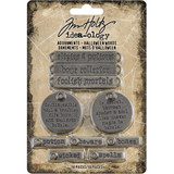 Tim Holtz - Idea-ology - Metal Adornments 10/Pkg - Antique Silver Halloween Words (TH93966 TH94063)