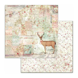 Stamperia - Double sided 12x12 Paper - Pink Christmas - Deer (SBB699)