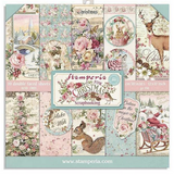 Stamperia - Double sided 8x8 Paper - Pink Christmas Cards - Restyled (SBBS16)