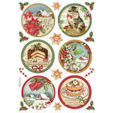 Stamperia - Rice Paper A4 - Classic Christmas - Rounds (DFSA4477)