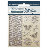 """Stamperia - Decorative Chips 5.5""""X5.5"""" - Rose & Butterfly (SCB5.5 - 16)"""