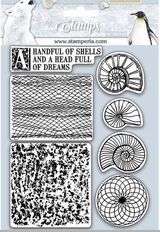 "Stamperia - HD Natural Rubber Stamp 5.51""x7.08"" Shells - Arctic Antarctic- Shells (WTKCC177)"
