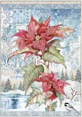 Stamperia - Decoupage Rice Paper A3 11.69x16.53- Poinsettia Red (DFSA3072)