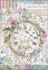 Stamperia - Decoupage Rice Paper A4 8.26x11.69 - Hortensia - Clock (DFSA4468)